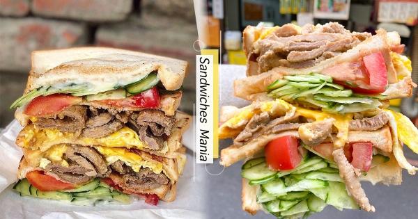【北部】人家拿不動啦~超狂「滿餡系」碳烤三明治 「料多到掉出來」快用嘴巴接!